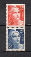 FRANCE  N° 832+833  NEUFS SANS CHARNIERE  COTE  8.00€  TYPE GANDON  VOIR DESCRIPTION