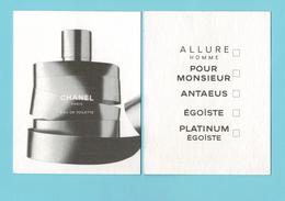 Cartes Parfumées Carte CHANEL PARIS   De CHANEL RECTO VERSO - Modern (from 1961)