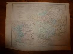 1861 Carte Géographique FRANCE FEODALE Av  CROISADES;Lieux Historiques De Révolte Communale,de La Guerre Des Albigeois - Cartes Géographiques