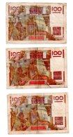 3 Billets De 100 Francs -Paysan-voir état