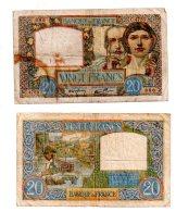2 Billets De 20 Francs - Sciences Et Travail-voir état
