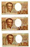 3 Billets De 200 Francs -Montesquieu-voir état