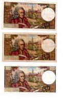 3 Billets De 10 Francs - Voltaire-voir état