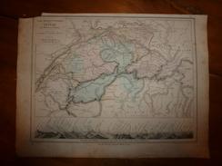 1861 Carte Géographique Physique Politique SUISSE :sommets,passages Principaux Des Alpes Pennines Et Des Alpes Centrales - Geographical Maps