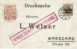 WARSZAWA - VARSOVIE 31 Décembre 1915 Michel N°7 - Timbre Poste Local - Wreczenie Oplacone - Port Payé - ....-1919 Provisional Government