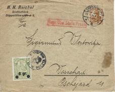 WARSZAWA - VARSOVIE Dippoldiswalde 19 Janvier 1916 N°13 - Timbre Poste Local + Aff. Allemand - Geprüft - ....-1919 Provisional Government