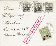 WARSZAWA - VARSOVIE 1 Mars 1916 Michel N°10 - Timbre Poste Local + Aff. Allemand - Wreczenie Oplacone - Covers & Documents