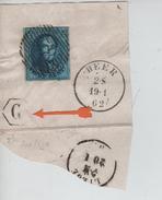 TP 11 S/frament Obl.Barres 58 + C.Heer 19/1/62 + Boîte G Dans 1 Hexagone C. D'arrivée Liège PR3926 - Postmark Collection