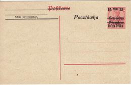 WARSZAWA - VARSOVIE Entier Postal Gen.Gouv.Warchau Surcharge 15 Fen 15 - Poczta Polska - Pocztowska - Neuf - ....-1919 Gouvernement Provisoire