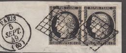 N 3   20C NOIR/JAUNE EN PAIRE - OBL GRILLE + CAD - TB - 1849-1850 Cérès