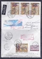 ANDORRE N° 384x4/319 SUR LETTRE REC. DU 14.10.89 POUR AUSTRALIE + RETOUR - Andorra Francese