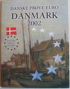 Danmark Set Of 8 Coins 2002 PROBE PATTERN ESSAI UNC Booklet - EURO