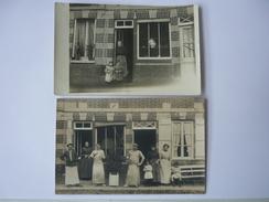 Lot 2 Cpa Carte Postale Ancienne Epicerie Non Située Animée Marchand Commercant - Negozi