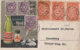 17266# ALLEMAGNE CARTE POSTALE PUBLICITE KRANCHEN WASSER Obl DAUSENAU AOUT 1923 LUXEMBOURG LUXEMBURG