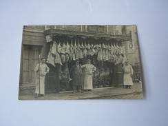 Cpa Carte Postale Ancienne Devanture Magasin Boucherie Charcuterie Commerce Chancy Duval Animée - Negozi