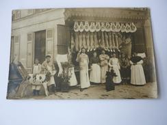 Cpa Carte Postale Ancienne Devanture Magasin Boucherie Charcuterie Commerce Animée Veau Cochon Jambon - Negozi