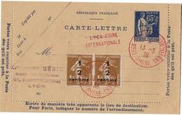 CIRC9- CARTE LETTRE PAIX 65c DATE 747 OBL. TEMPORAIRE LYON ECHANTILLONS 13/3/1938