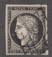 N 3   20C NOIR/JAUNE - OBL GRILLE - TB - 1849-1850 Cérès