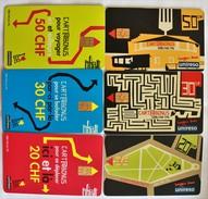 TELECARTES.SUISSE.cartes Prépayées Ticket  Bus Et Tramways De Geneve.LOT DE 6. - Tramways
