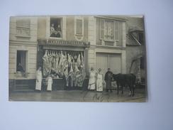 Cpa Carte Postale Ancienne Langlois Thourin Boucherie Charcuterie Animée Vache Devanture Magasin - Negozi