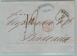 AUT9  Lettre  PRAG 11.6. Pour Bordeaux + M D'entrée AUT 2-Valencienne 13.6.53 - Covers & Documents
