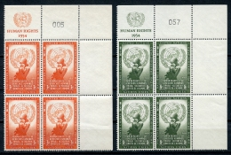 United Nations New York, 1954, Human Rights Day, UR MI4 With Control Numbers, MNH, Gaines 29-30, Michel 33-34 RZf KN - New York -  VN Hauptquartier