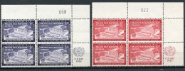 United Nations New York, 1954, UN Day, UR MI4 With Control Numbers, MNH, Gaines 27-28, Michel 31-32 RZf KN - New York -  VN Hauptquartier