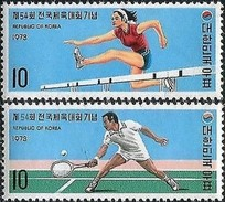 1973 South Korea National Athletic Meeting Stamps Tennis Hurdle - Tennis