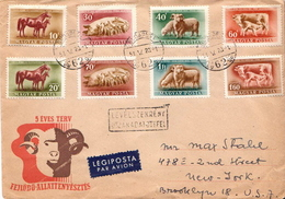 Postal History Cover: Hungary With Full Farm Animals Set