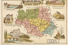 32  GERS      CARTON DE PRESENTATION  DU  GERS         DOS >>>  FABRIQUE DE CHOCOLAT  L. TUAL SALMON  NANTES - France