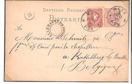 EP. Allemand 5 Pf. + TP Compl. 10pf. Càd METZ 19/11/1877 V.KOEKELBERG -C2c.PASSAGE ALLEMAGNE PAR BXL. RARE Sup. - Poststempel