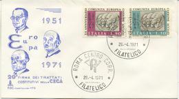 ITALIA - FDC CAPITOLIUM 1971 -  C.E.C.A. - ADENAUER - SCHUMAN - DE GASPERI - F.D.C.