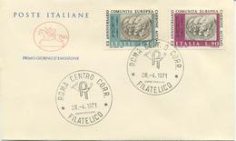 ITALIA - FDC CAVALLINO 1971 -  C.E.C.A. - ADENAUER - SCHUMAN - DE GASPERI - 1946-.. République