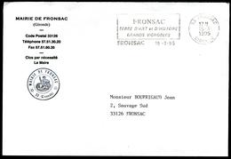 Lettre De La Mairie De FRONSAC (Gironde) - Flamme Non Illustrée