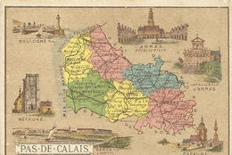 62 PAS DE CALAIS CARTON DE PRESENTATION  DU PAS DE CALAIS      DOS >>>  FABRIQUE DE CHOCOLAT  L. TUAL SALMON  NANTES - France