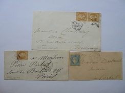 LOT DE 2 TIMBRES NAPOLEON III 10 C DENTELES SUR ENVELOPPE 1866  1 CERES 1875 ET 1 NAPOLEON 10 C - 1862 Napoléon III