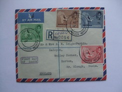 GHANA 1957 AIR MAIL REGISTERED LEGON ACCRA - FDC - Independence Set - Ghana (1957-...)