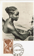 CIRC9- A.E.F. JEUNE FILLE BACONGO 15fr SUR CARTE CONCORDANTE BRAZZAVILLE 27/12/1955 - Briefe U. Dokumente