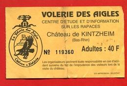 957-1 -  Ticket D'entrée  Volerie Des Aigles (Alsace) - Eintrittskarten