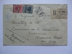 EGYPT 1920`s REGISTERED ALEXANDRIA COVER WITH AR MARK - PLUS TIED WITH O.H.E.M.S. STAMPS