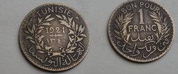Tunisie  1 Franc 1921      Km#247         Aluminium Bronze    TB - Tunisie