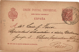 CIRC9- ESPAGNE EP CP ALFONSO XIII PELON 10c VOYAGEE - Stamped Stationery