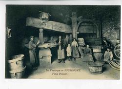 A 19359  -  7 Cartes  -  Les Vendanges En Bourgogne  -  Vieux Pressoir, Porteurs De Bennes, Le Pressage, Départ ..... - Vignes