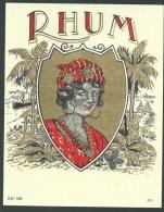 """Ancienne étiquette   Rhum    """"femme  Coiffe Bijou, Bateau """" Imp  MF"""