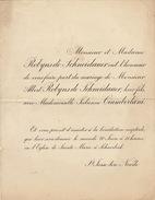 Mariage Robyns De Schneidauer Cianberlani 1896 - Mariage