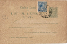CIRC9- ESPAGNE EP CP ALFONSO XIII PELON 5c+ COMPL.T A DESTINATION DE PARIS5/9/1890