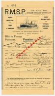 1910 // Billet Paquebot ARAGON & CLYDE - Billets D'embarquement De Bateau