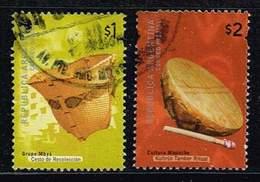 Argentinien 2000, Michel# 2595 - 2596o Mbya Culture, Basket/ Cultura Mapuche. Kultrún (tambor) - Argentinien