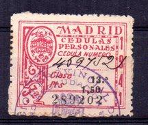Viñeta De Madrid Cedulas Personales. - Fiscales