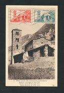 ANDORRE -1954 Carte Maxi Eglise Romane De CASELLES Ayant Voyagé Pour La France (Aude)